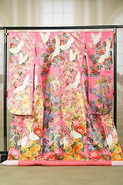四季の花に鶴