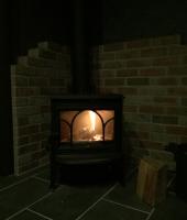薪ストーブのためのお部屋にヨツールF100設置しました。
